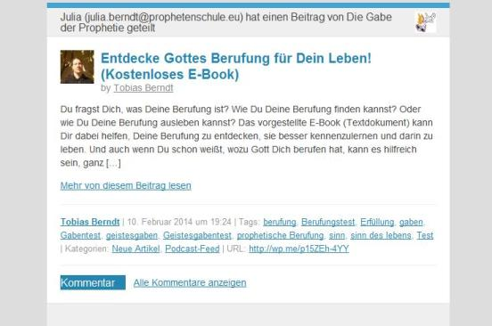 Per E-Mail schicken WordPress