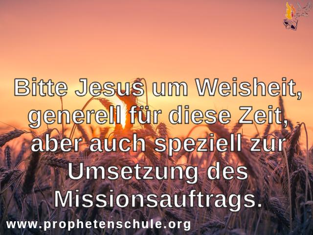 Bitte Jesus um Weisheit,zur Umsetzung des Missionsauftrags.