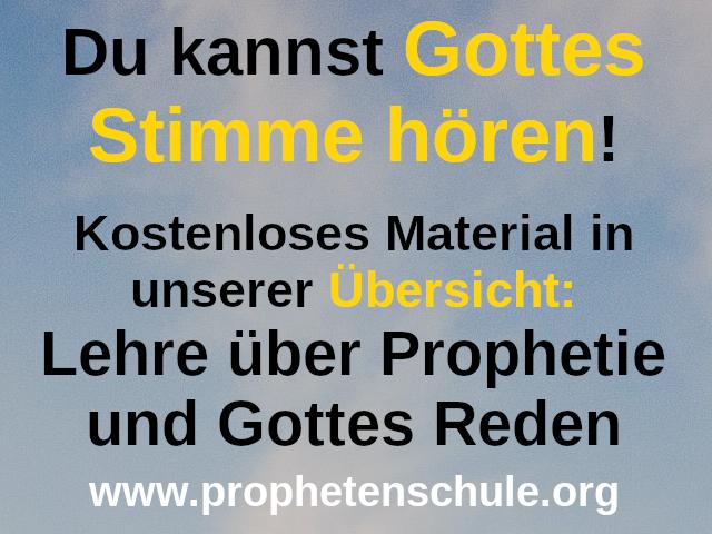 Bild mit Himmel und Text: Du kannst Gottes Stimme hören, kostenloses Material in der Übersicht Lehre über Prophetie und Gottes Reden