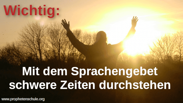 Mann betend vor Sonnenuntergang Prophetenschule mit Text Mit dem Sprachengebet schwere Zeiten durchstehen